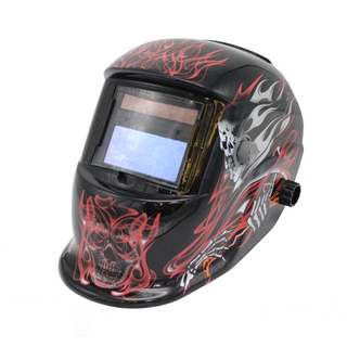 MX-8 Auto Darkening Welding Helmet with red flame and skull